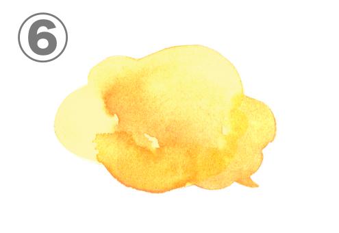 黄色、オレンジのグラデーションのふわふわな吹き出し