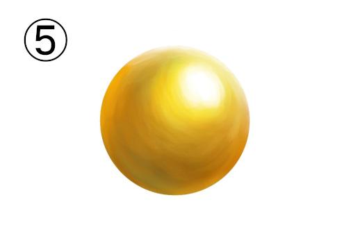 真ん丸なゴールドの真珠