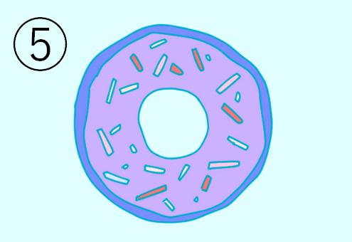青紫で縁取られた、チョコスプレーのかかった紫のドーナツ