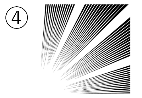 4つの束になった、左下への集中線