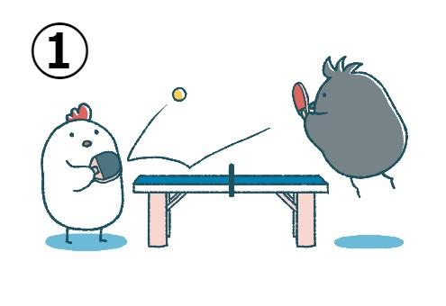 卓球をし合うにわとり