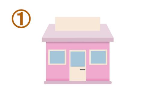 ピンク、白、水色の、メルヘンカラーのお店
