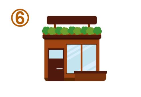 屋根に植物のある、四角い茶色のお店