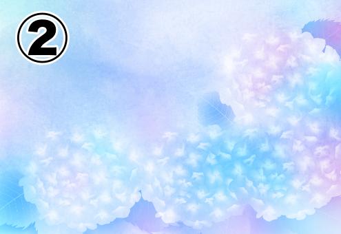 パステル調のグラデーションな紫陽花の絵
