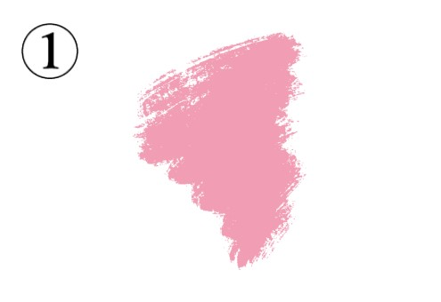 竜巻のような形のピンクの筆跡