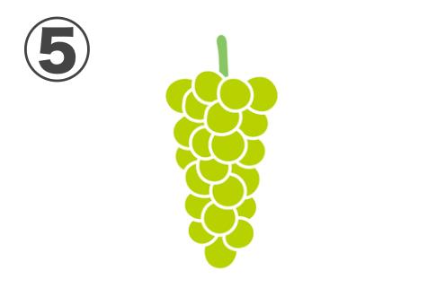 小粒の黄緑の縦長な房のブドウ