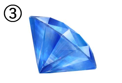 平面が右奥を向いた青い宝石