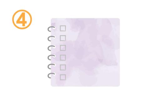 チェックボックスのある紫のノート