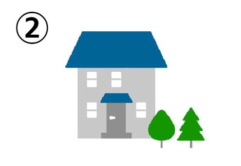 木が植わっている、大きい青い屋根の家