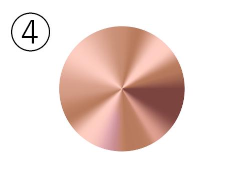 ピンクゴールドの金属丸