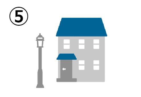 街頭の側の青い屋根の家