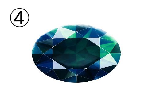 平たい青と緑に光る宝石