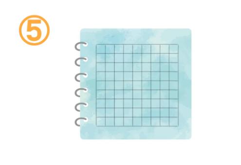 方眼紙の水色のノート