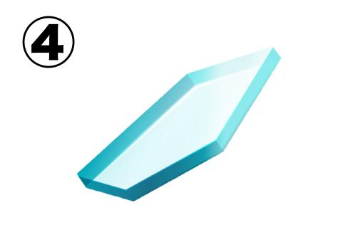 平たい五角形のガラス片