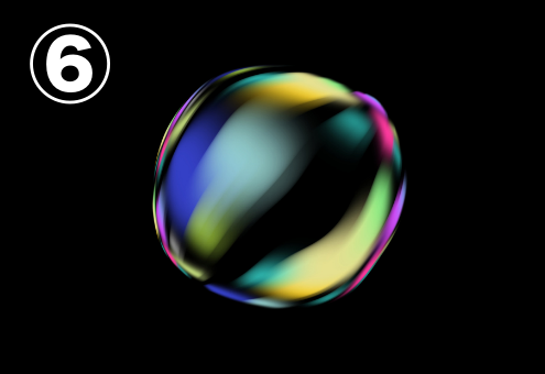 青、黄色、緑、赤、水色のグラデーションのバブル