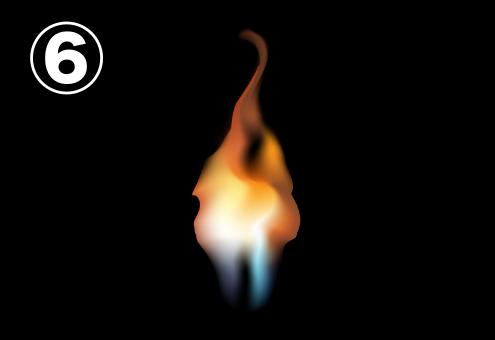 あまり揺れずに細く立ち上る炎