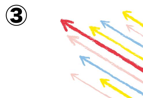 背景白、赤、ピンク、黄色、水色の矢印
