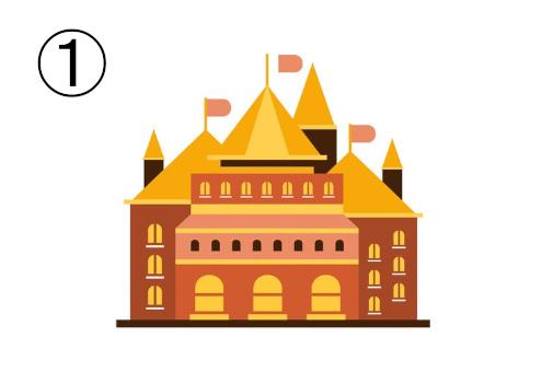 黄色と茶色のお城