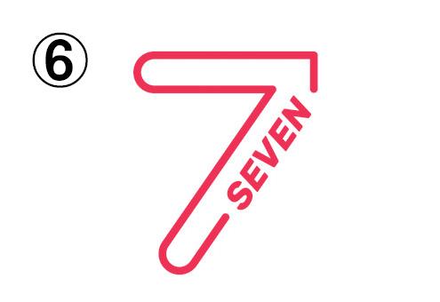 SEVENの文字入りの、細めの線の白抜きの7