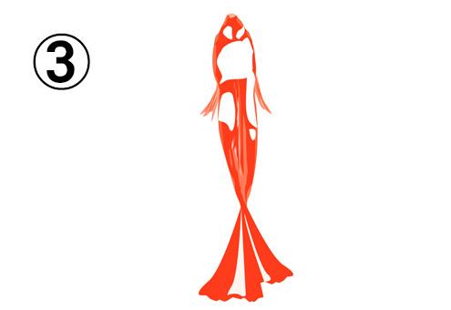 真っ直ぐ泳ぐ、赤と白の斑の金魚