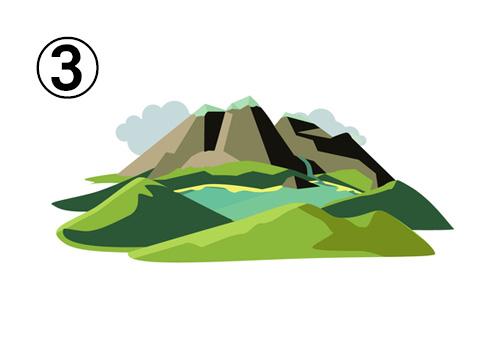 小さい丘と湖の先にある、高い山