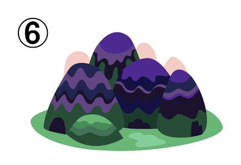 紫と緑の丸い山