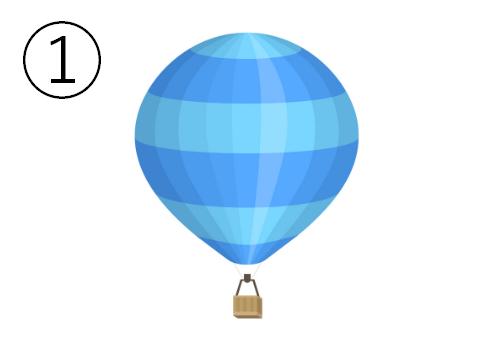 水色と青のボーダーの気球
