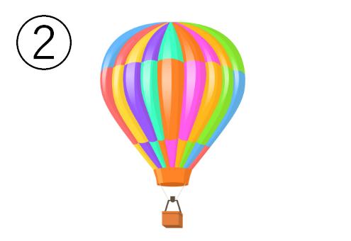 ランダム配置のレインボーカラーの気球