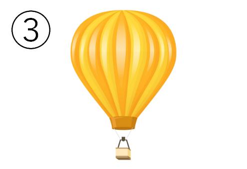 黄色とオレンジの交互色の気球