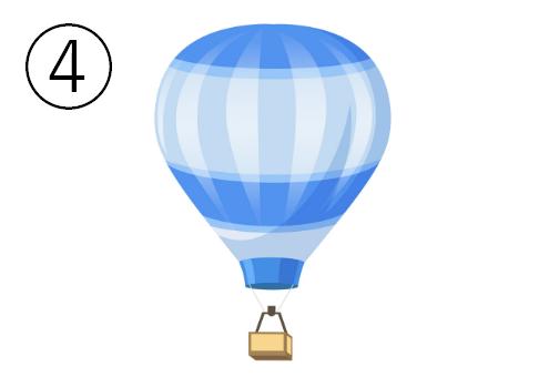 青、水色、白のボーダーの気球
