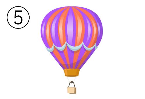 水色の線が入った、紫、赤の交互色の気球