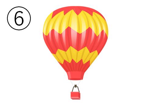 赤と黄色のキザギザ模様の気球