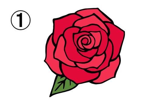 大きめの、正面を向いたバラ
