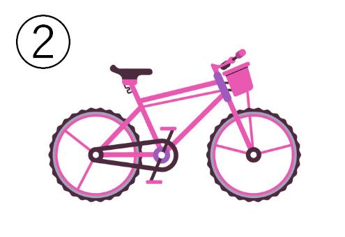 カゴ付きのピンク自転車