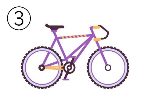 紫に黄色ラインの自転車