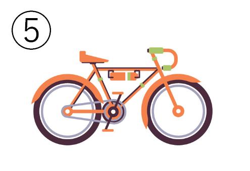 オレンジと黄緑の電動自転車