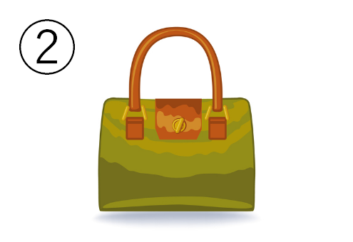 持ち手茶色で、抹茶色のバッグ