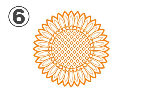 線ありの細かい花びら、中心部がダイヤドット柄のひまわり
