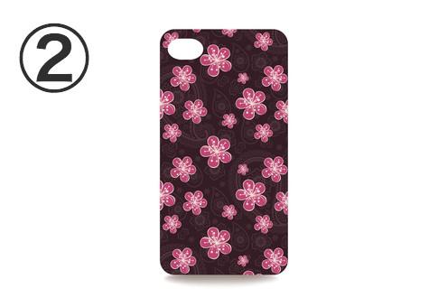 濃いえんじ地に、ピンクの花柄