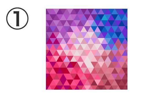 紫、青、ピンク、ベージュ系のモザイクタイル