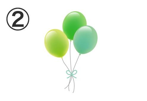 黄緑、緑、エメラルドの風船