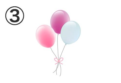 ピンク、紫、白の風船
