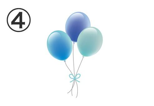 水色、青、薄水色の風船