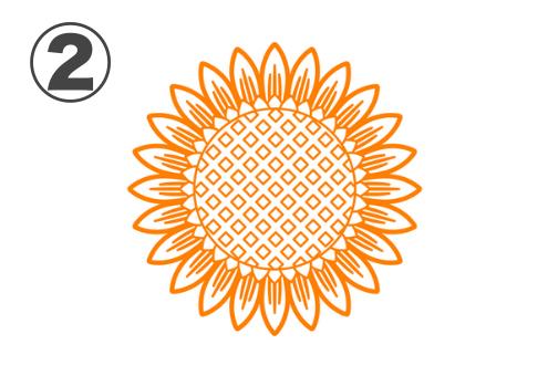 花びらに縦線柄あり、中心部がダイヤドット柄なひまわり