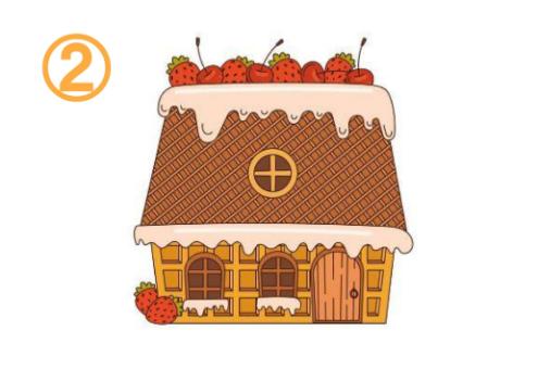 ウエハースメインの、いちごとさくらんぼが乗ったお菓子の家