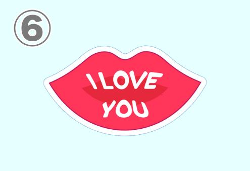 ILOVEYOUと書かれた唇スタンプ