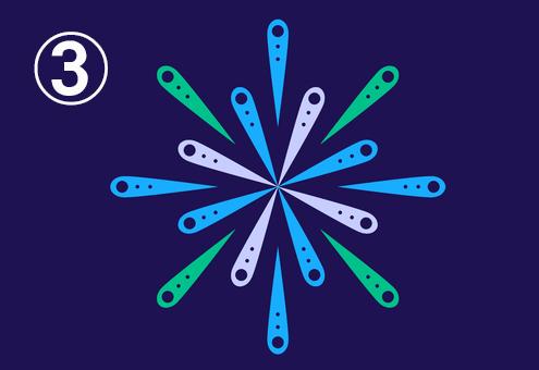 緑、水色、グレーの裁縫針のような形が集まった花火