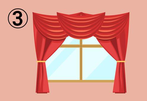 ステージカーテンのようなカーテンのついた窓