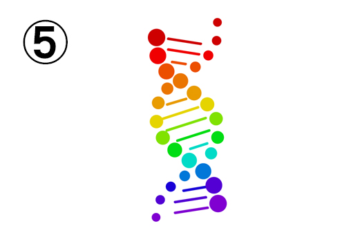 ドットでできた、虹色のDNA