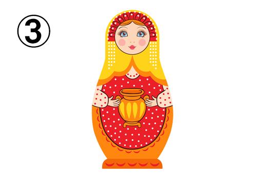 赤、黄色、オレンジメインな、壺を持ったマトリョーシカ